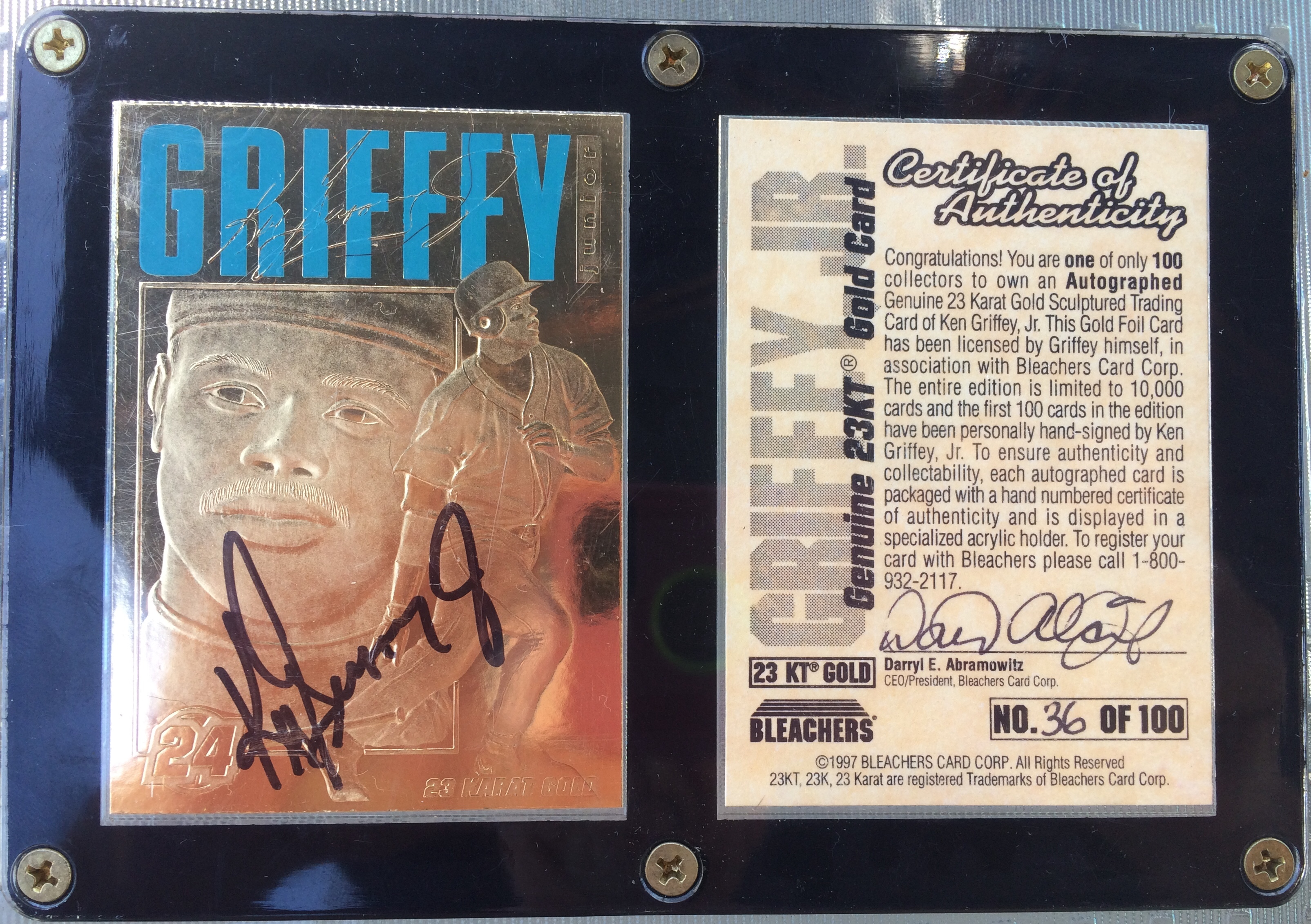 Ken Griffey Jr. Autographed 23kt. Gold Card